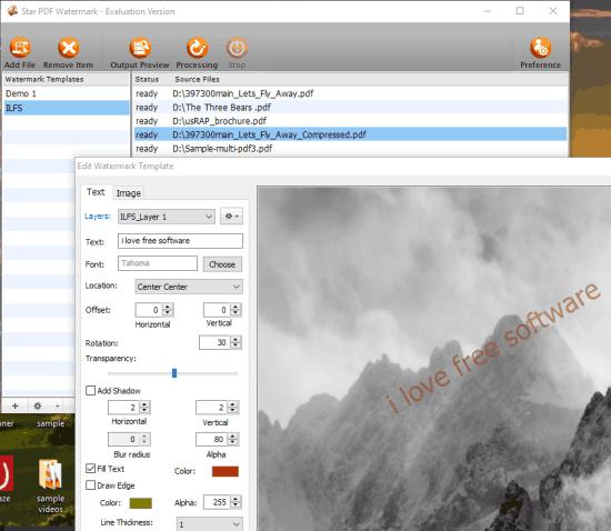 Star PDF Watermark (free version)- interface
