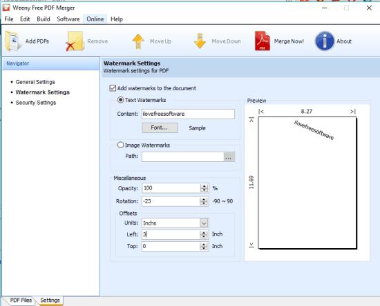 Weeny Free PDF Merger- interface
