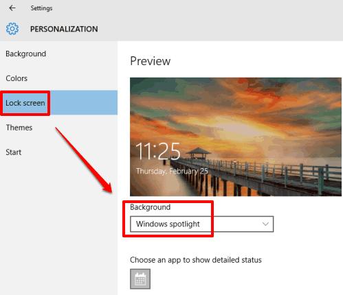 Windows Spotlight is set as Lock screen Background