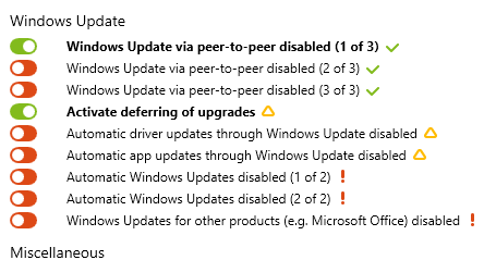 Windows Update section