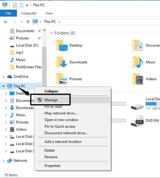 access Computer Management window