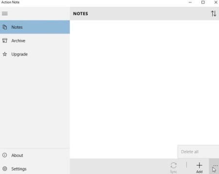 action notes interface