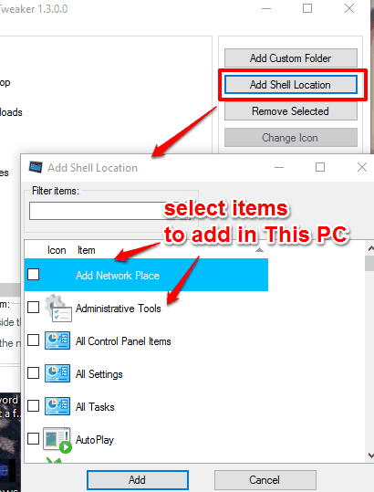 add Control Panel and other items to This PC in Windows 10