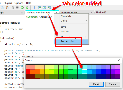 add tab color