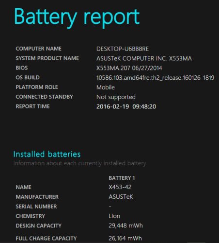 battery report