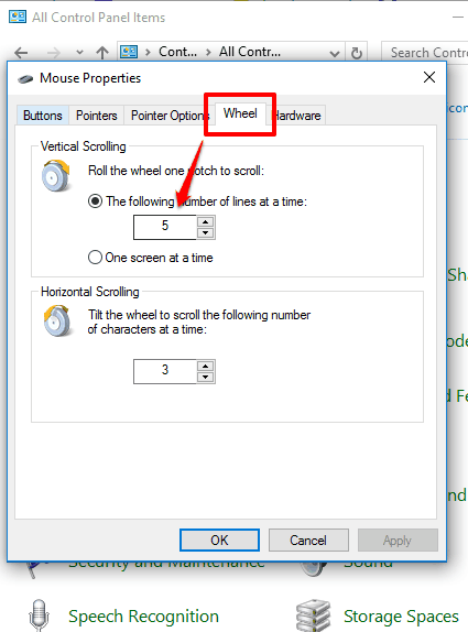 change mouse scroll speed using Wheel tab