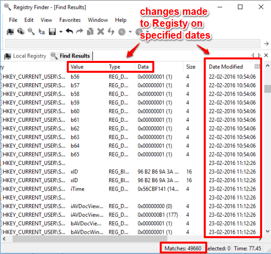 changes made to Registry on specified dates detected by Registry Finder