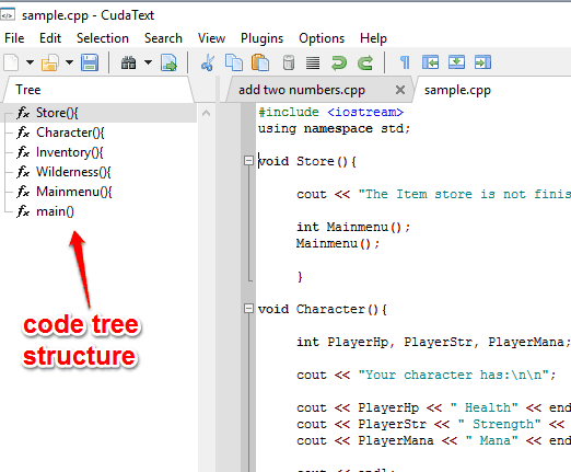 code tree structure