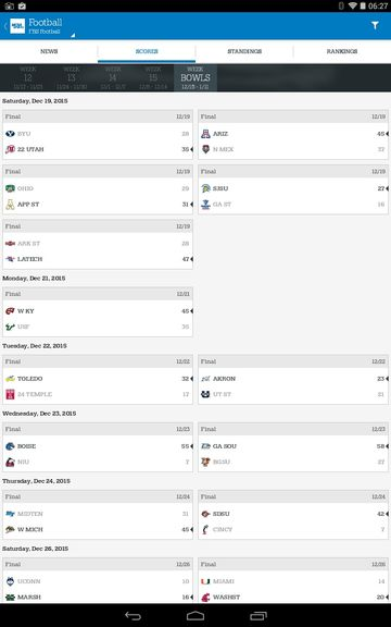 college football results apps android 2