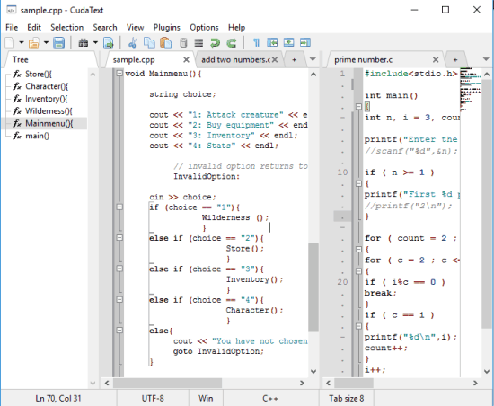 free code editor with tabbed interface