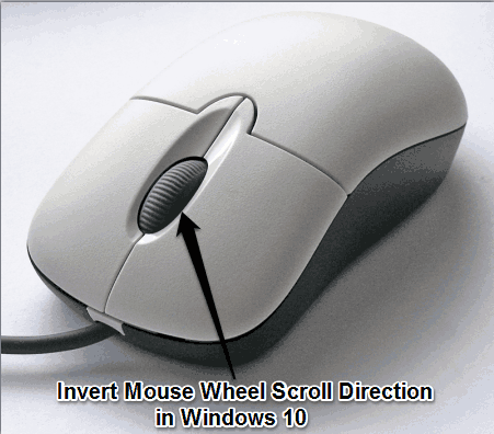 invert mouse wheel scroll direction in Windows 10