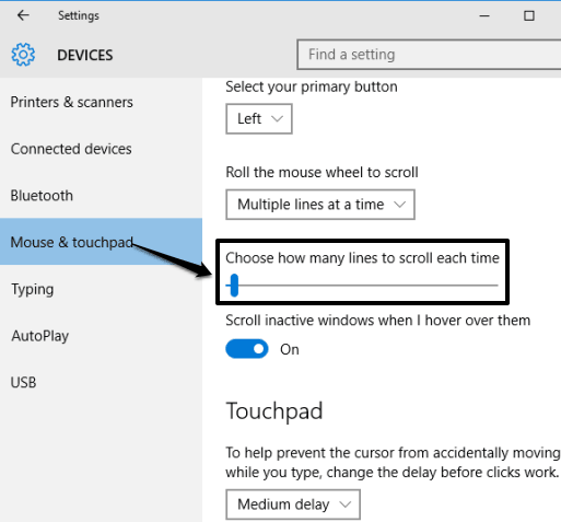 move the slider to adjust mouse scroll speed in Windows 10