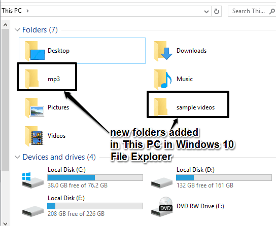 new folders added in This PC in Windows 10