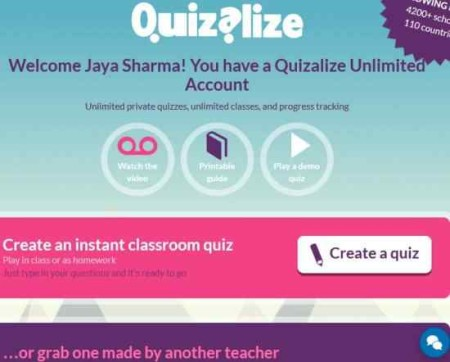 quizalize teacher signed up