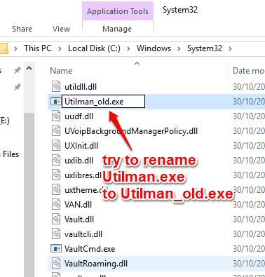 rename Utilman.exe file