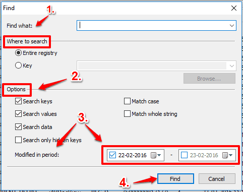 select options and dates to find Registry Changes
