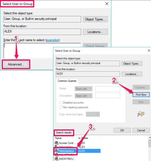 set Administrators as new user for Microsoft Edge folder