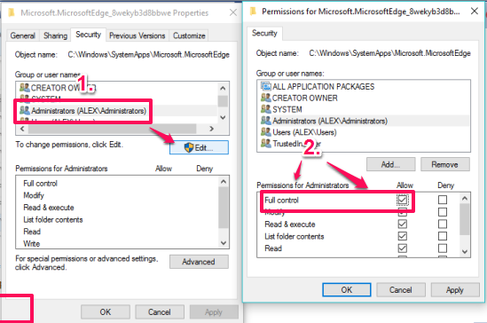 set Full control as permissions for Administrators