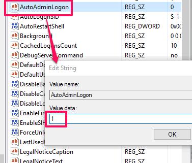 set autoadminlogon value data to 1