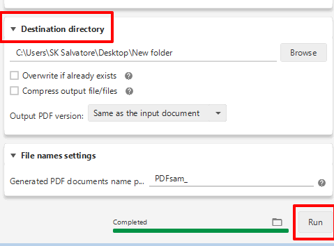 set destination directory and click Run