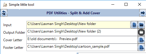 set input and output folders and cover and footer letters