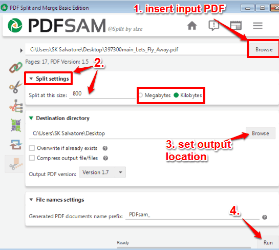set split settings and process input PDF