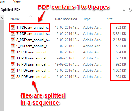 splitted PDF files