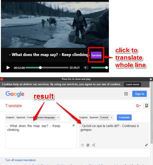 translate a whole line of subtitles