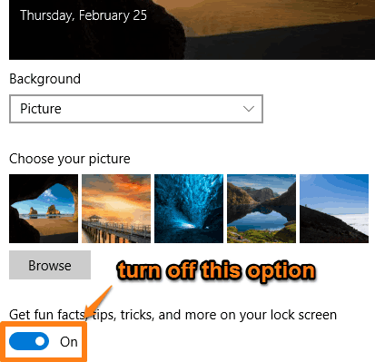 turn off Get fun facts option