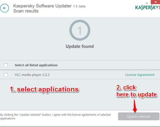 update the selected applications