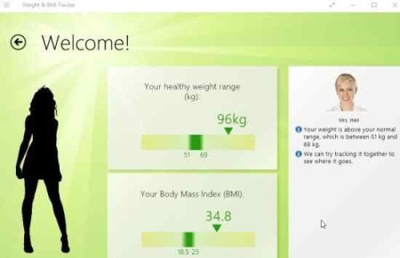 weight and bmi tracker display