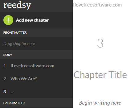 write and select chapters