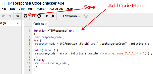 Google Sheets 404 Checker Code