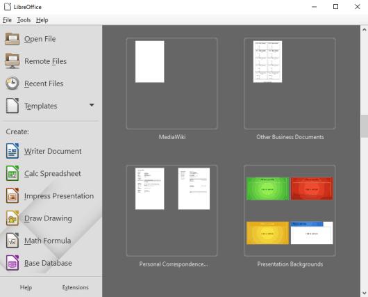 LibreOffice- main interface