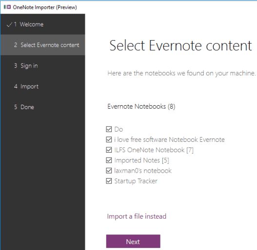 OneNote Importer- import Evernote Notebooks to OneNote