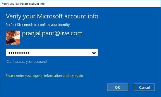 Perfect Kick login with microsoft account