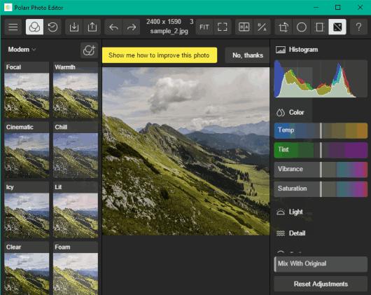 Polarr Photo Editor- interface