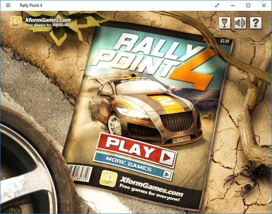 Rally Point 4 Main screen