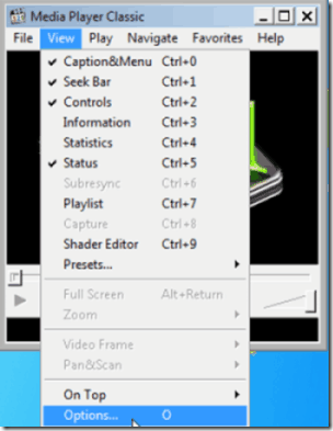 Media Player Classic View Menu