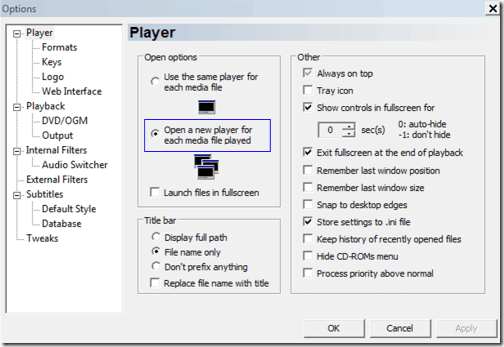 Media Player Classic Multiple Instance Menu