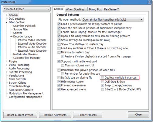 KMPlayer Multiple Instance Setting Window