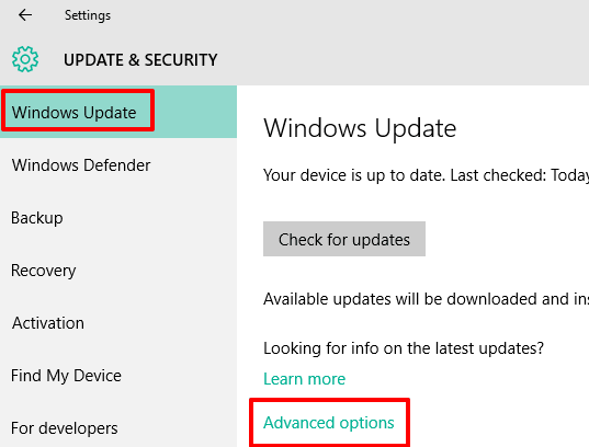 access Advanced options in Windows Update section