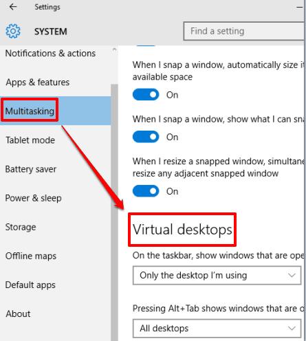 access Virtual desktops section in Multitasking submenu