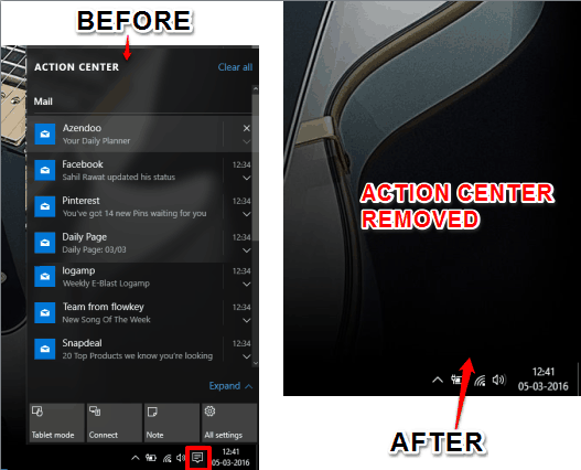 before and after removing Action Center