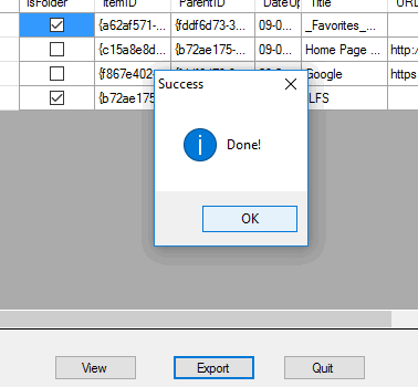bookmarks exported as HTML file