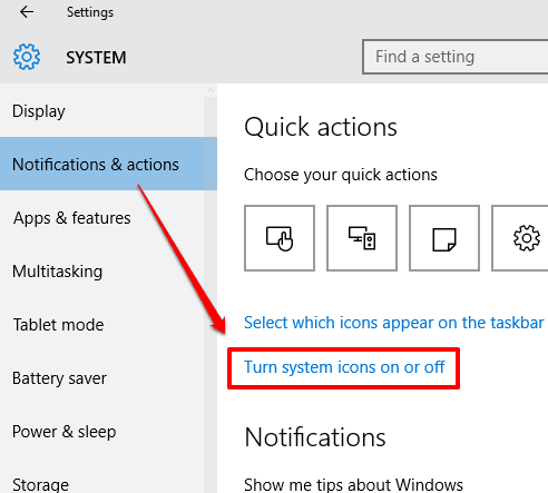 click turn system icons on or off option