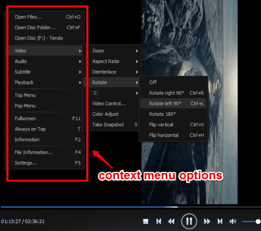 context menu options