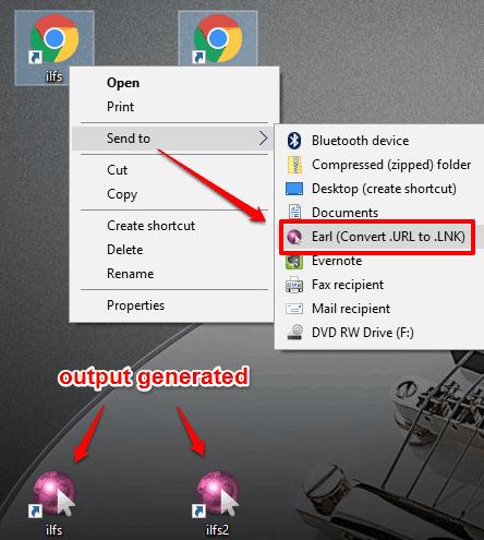 convert URL files using right-click context menu