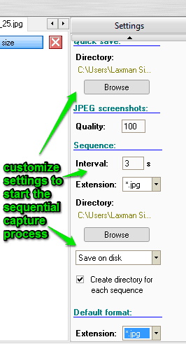 customize settings for sequential capture process
