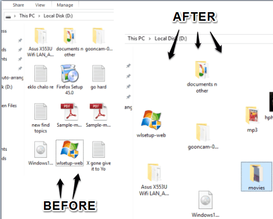 disable auto arrange in folders in Windows 10